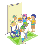 Group of kids with hats in front of door vector illustration