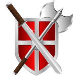 Vector drawing of sword, battleaxe and shield