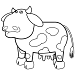 Cow cartoon drawing vector image