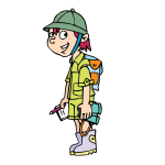 Vector image of safari traveller kid