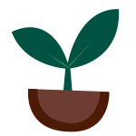 Vector image of small green plant sprouts from the ground