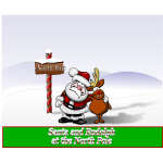 Santa and Rudolph at the North Pole vector illustration