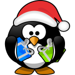 Vector clip art of little penguin with red Christmas hat