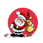 Santa and raindeer in the sun vector drawing