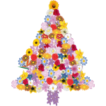 Vector illustration of flower Christmas tree