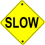 Slow road sign vector image