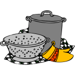 Vector illustration of cooking pot, siv and glove