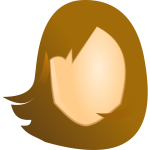 Vector graphics of female blank head with brown hair