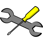 Screwdriver and wrench vector icon