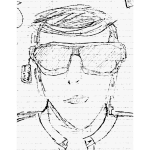 Pencil drawing of a guy trying on sunglasses