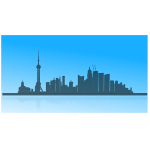 Shanghai city skyline outline vector image
