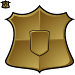 Vector drawing of matt finish blank gold shield