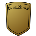 Vector graphics of royal shield blank in golden color