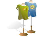 T-shirts stands with shirts on vector image