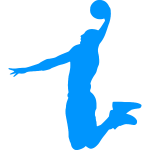 Basketball player blue silhouette