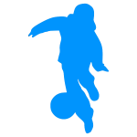 Blue football silhouette