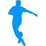 Football player silhouette blue color
