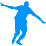 Blue silhouette of a footballer