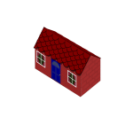 Vector image of red house created with bricks