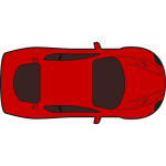 Red racing car top view vector