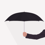 Holding an umbrella vector image