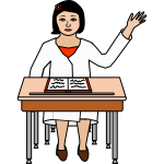 Female student raising her hand vector drawing