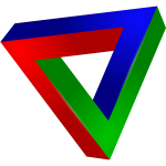 Clip art of an impossible triangle in color