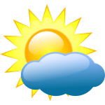 Vector clip art of weather forecast color symbol for partly cloudy sky