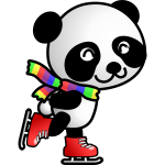 Vector image of panda on ice skates