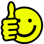 Vector drawing of thumbs/up smiley face