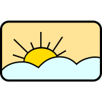 Sun in sky vector drawing