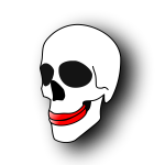 Ugly skull with red lips vector image