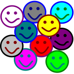 Vector drawing of colorful smileys selection
