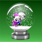 Panda skaters in snow globe vector image