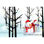 Christmas card with snowman vector illustration