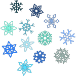 Vector illustration of selection of snowflakes