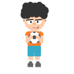 Vector image of a guy with a soccer bal