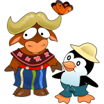 Cartoon gnu and tux