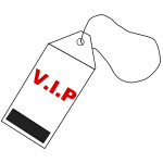Illustration of red and black VIP tag