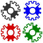 Vector illustration of 4 colored gear wheels