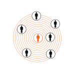 Human figures in concentric circles