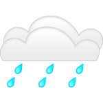 Vector drawing of pastel colored overcloud heavy rain sign