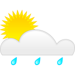 Pastel colored symbol for sunny with rain vector image
