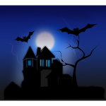 Vector clip art of spooky house with bats flying around