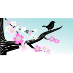 Birdie on a flower branch image