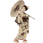 Vector illustration of kimono lady stereotype