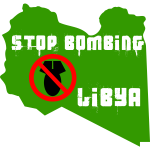 Vector graphics of stop bombing Libya label