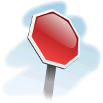 Vector image of tilted blank stop sign