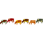 Colored cows set vector illustration
