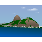 Vector image of Sugar Loaf mountain in Brazil